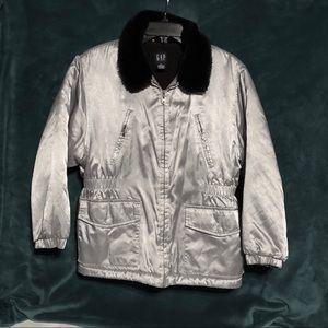 Gap Ladies Washable Winter Coat Silver & Black XL